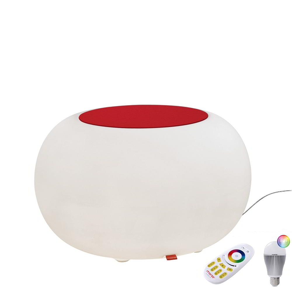 BUBBLE Leuchthocker Outdoor mit LED-Beleuchtung, Filzauflage rot