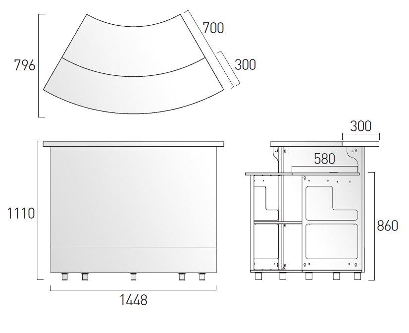 BAR LED beleuchtet, 60 Grad, Größe und Platzbedarf