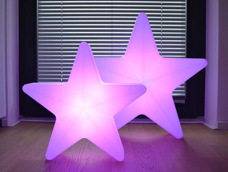 STARS Weihnachtsstern beleuchtet in pink, zwei Größen