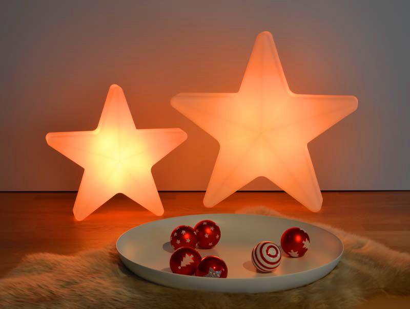 STARS Weihnachtsstern beleuchtet in orange, in zwei Größen