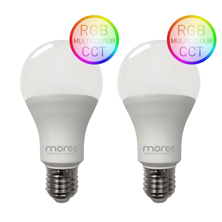 LED RGB Leuchtmittel WLAN für Alexa und Google Assistent, 2er Set