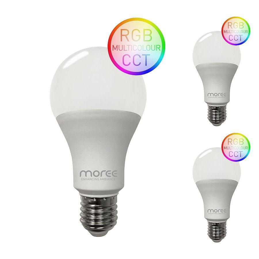 LED RGB Leuchtmittel WLAN für Alexa und Google Assistent, 3er Set