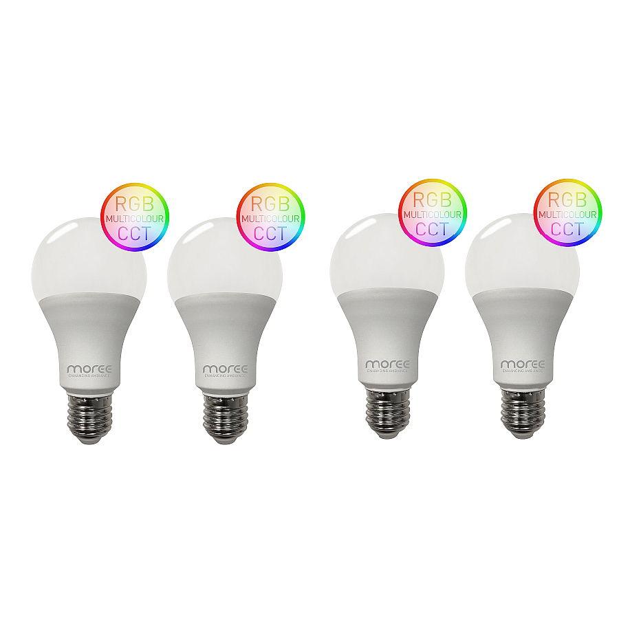 LED RGB Leuchtmittel WLAN für Alexa und Google Assistent, 4er Set