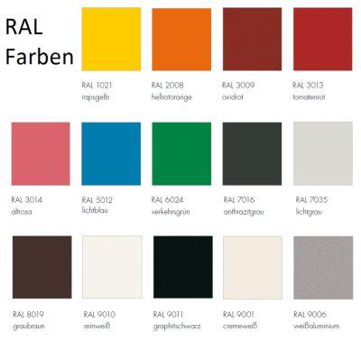 RAL Farben für Stapelliege Rolf Heide