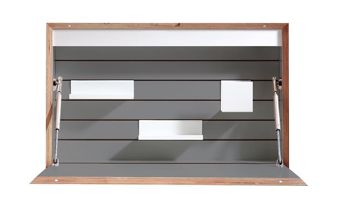 FLATBOX Sekretär anthrazit mit Birkenkante aus Schichtholz