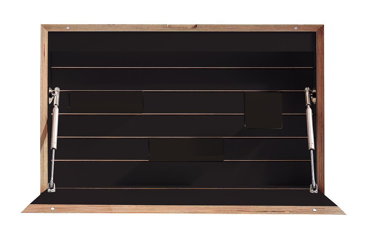 FLATBOX Sekretär schwarz matt mit Birkenkante aus Schichtholz