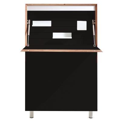 FLATMATE Sekretär schwarz mit Holzkante