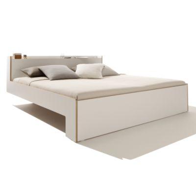 NOOK Bett weiß mit Holzkante