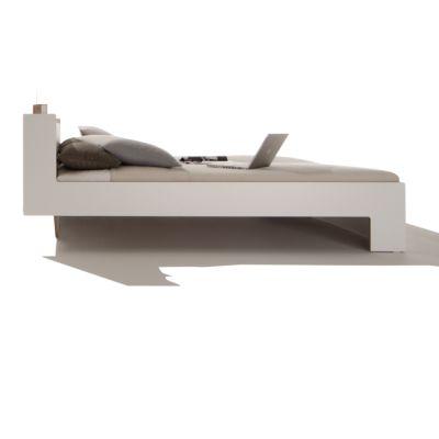 NOOK Bett weiß mit Holzkante, Seitenansicht