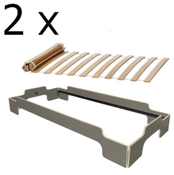 Stapelliege Paketpreis 4 mit Rollrost, anthrazitgrau mit Holzkante