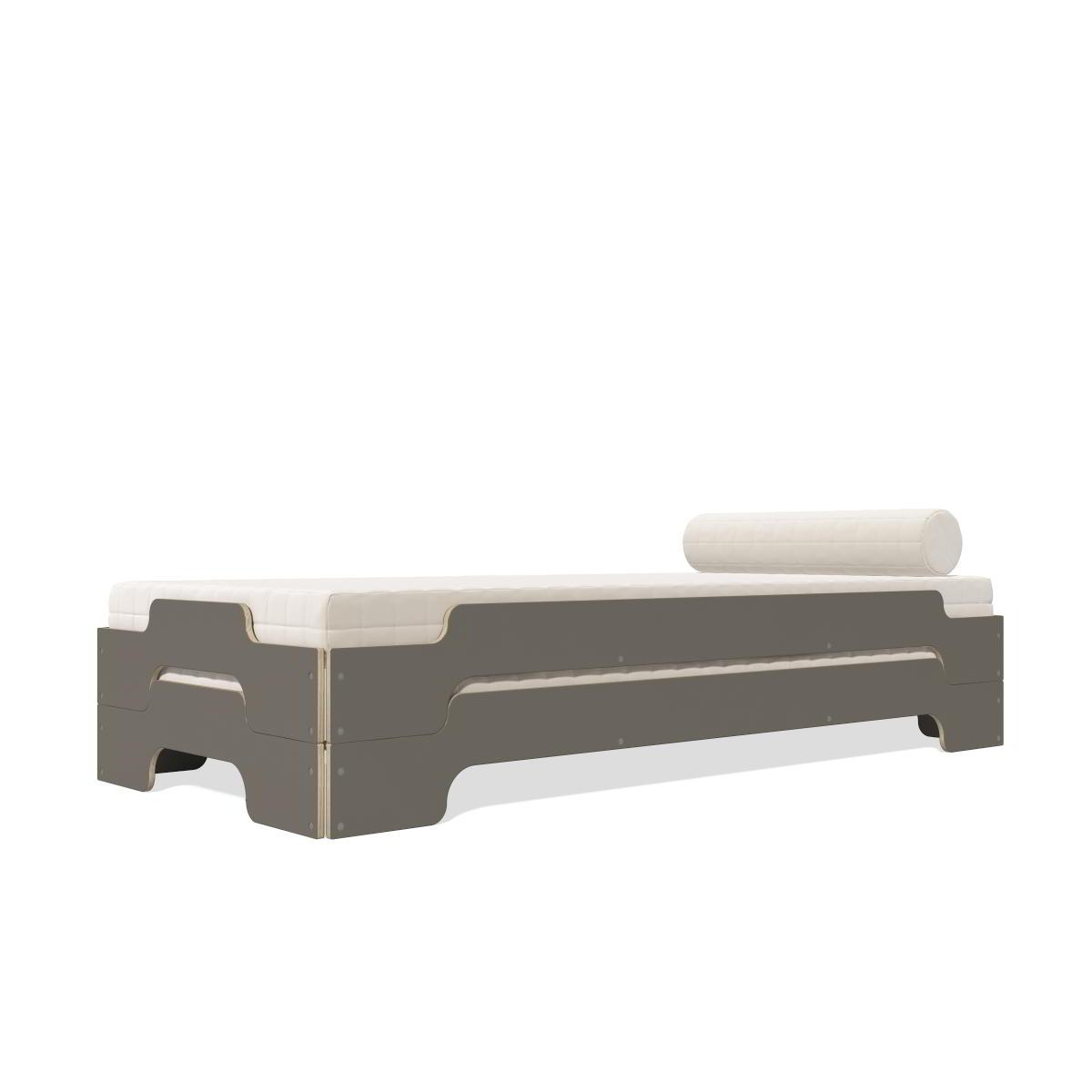 Stapelliege Paketpreis Komforthöhe anthrazit mit Holzkante