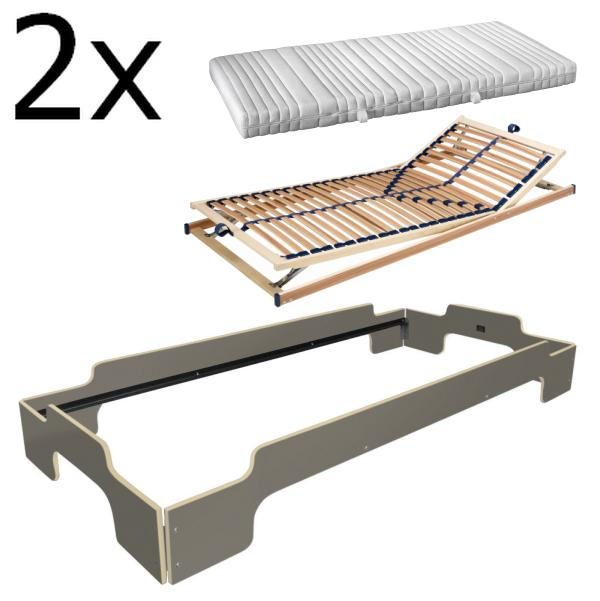 Stapelliege Paketpreis 8 Komforthöhe anthrazitgrau Holzkante
