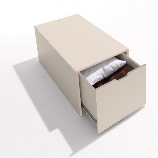 Bettkasten mit Schublade Rolf Heide Klassik CPL 9001 cremeweiß lackiert