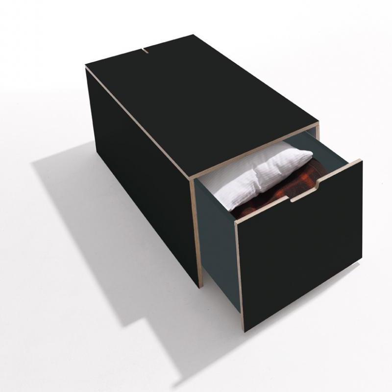 Bettkasten mit Schublade Rolf Heide Klassik CPL matt schwarz mit Holzkante