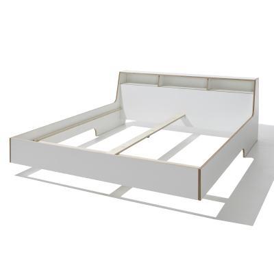 SLOPE Bett, weiß mit Holzkante