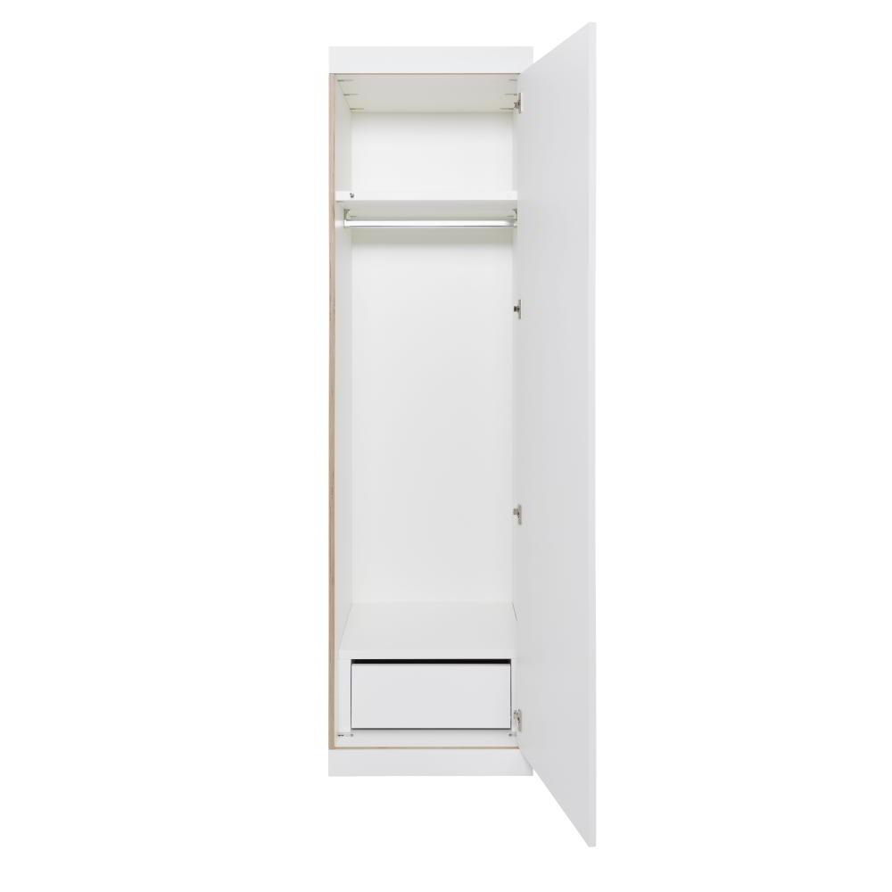 FLAI Schrank 1-türig, weiß mit Holzkante, unten zusätzlich eine Schublade