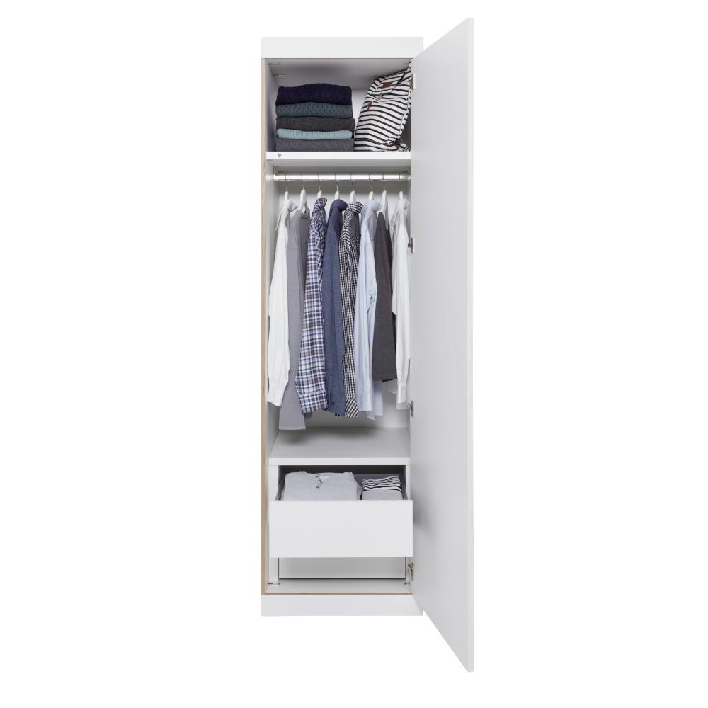 So sieht ein FLAI Kleiderschrank von innen, mit zwei Schubladen, weiß Multiplex