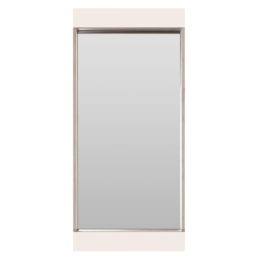 FLAI Spiegel 90 x 40 cm, weiß mit Holzkante Multiplex