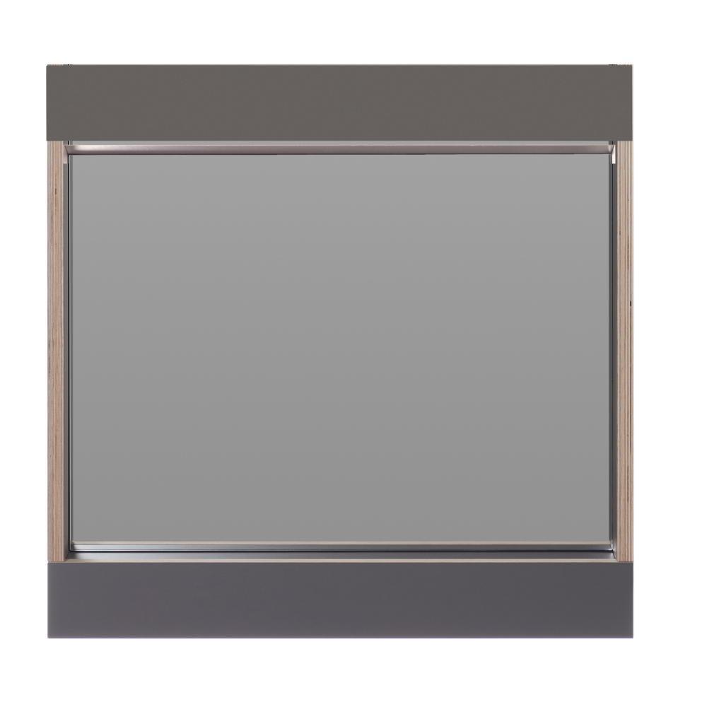 FLAI Spiegel 61 x 61 cm, anthrazit mit Holzkante Multiplex