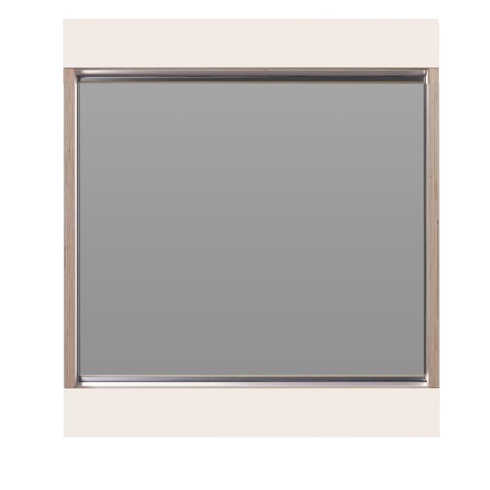 FLAI Spiegel 61 x 61 cm, weiß mit Holzkante Multiplex