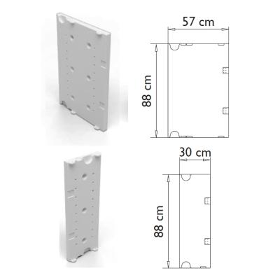 Maße Stellwände zur Installation von Anbauelementen