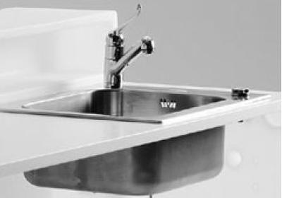 Waschbecken und Wasserhahn in der Arbeitsplatte