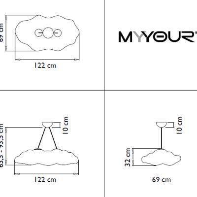 NEFOS Pendelleuchte Wolke 120 cm, Details