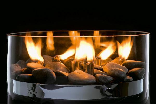 Fire Tischkamin / Öllampe mit Steinen, Edelstahl