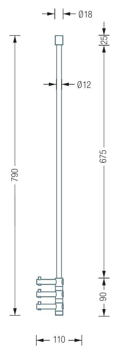 TAKE Hängegarderobe T3 mit 3 Haken, technische Daten