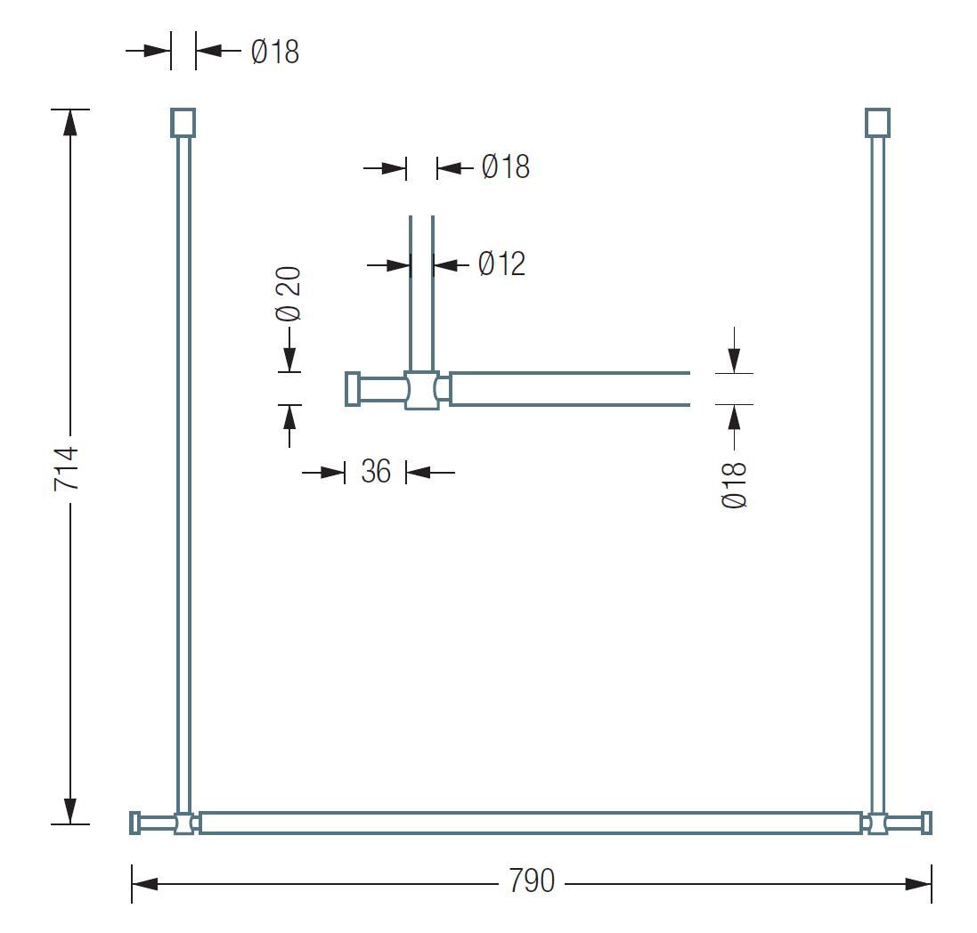 T0S Hängegarderobe Take 0 Plus mit 2 zusätzlichen Haken, technische Daten