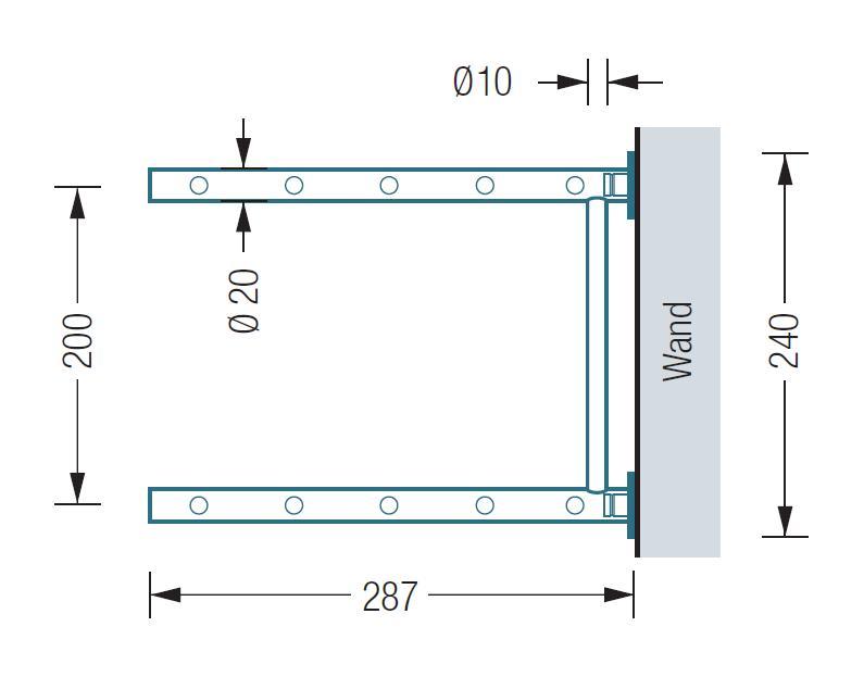 GSR600-2W Schuhregal zur Wandmontage, Vermassung