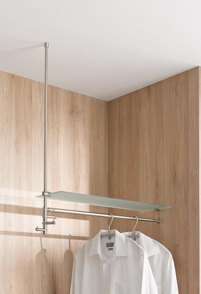T3L Hängegarderobe TAKE in L-Form, Edelstahl, mit Glasablage satiniert