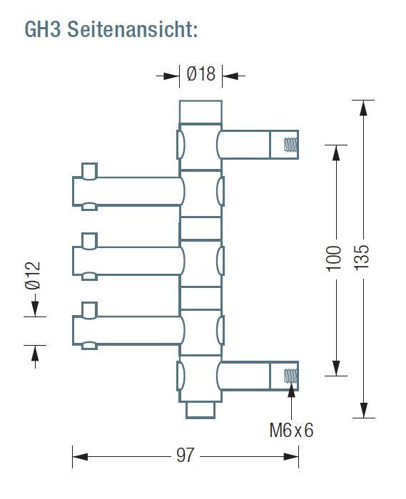 GH3 Wandhaken mit 3 drehbaren Haken, Edelstahl