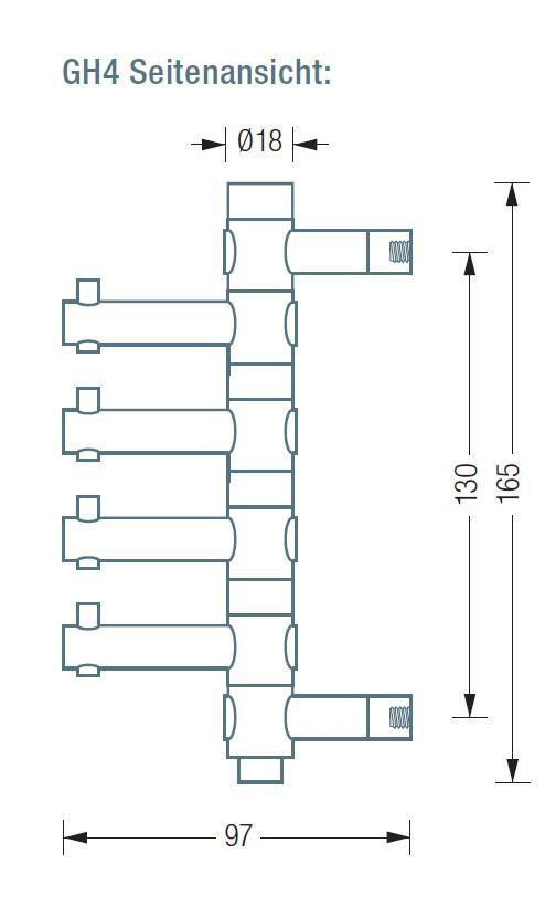 GH4 Wandhaken mit 4 drehbaren Haken, Höhe 165 mm, Tiefe 97 mm.