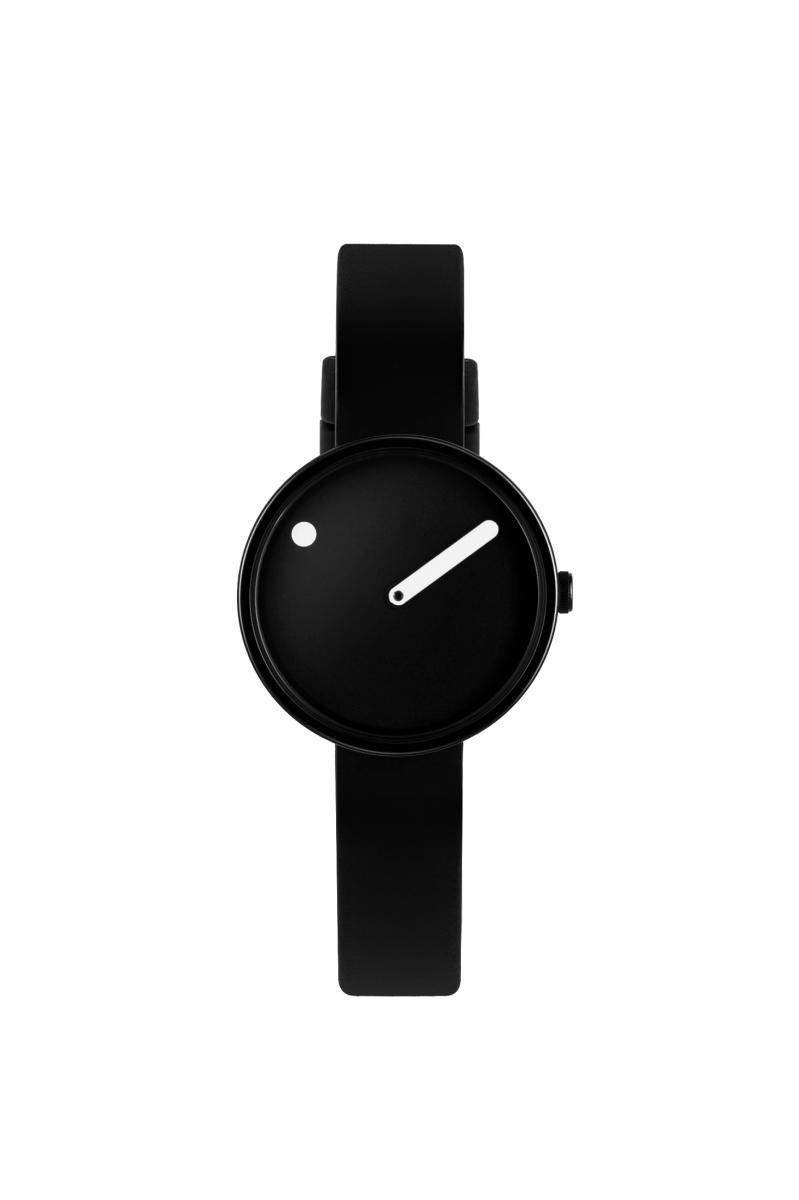 Picto Armbanduhr Ø 30 mm schwarz mit Lederarmband 43360