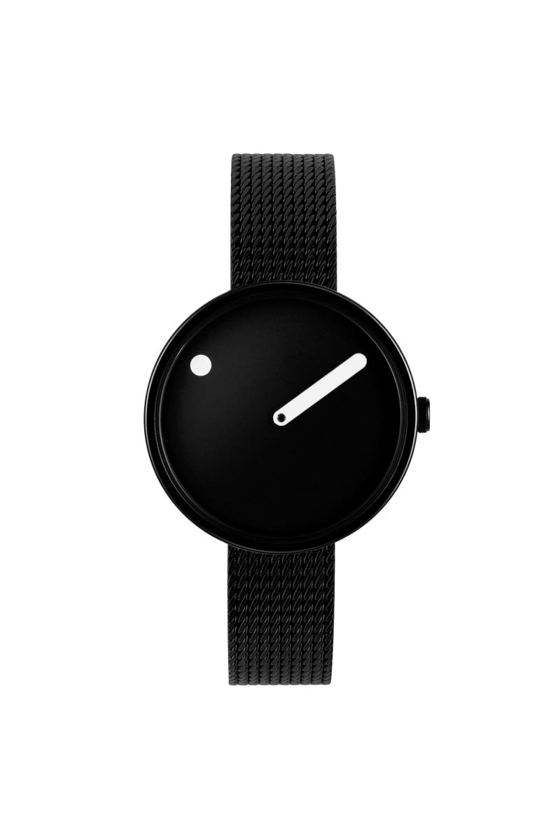Picto Armbanduhr Ø 30 mm schwarz mit Stahlband (43360)