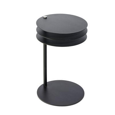 MOLINO Beistelltisch schwarz verstellbar, geschloßen