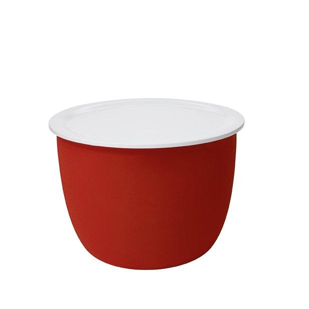 RONDA Beistelltisch Filz-Optik rot, Tablett weiß