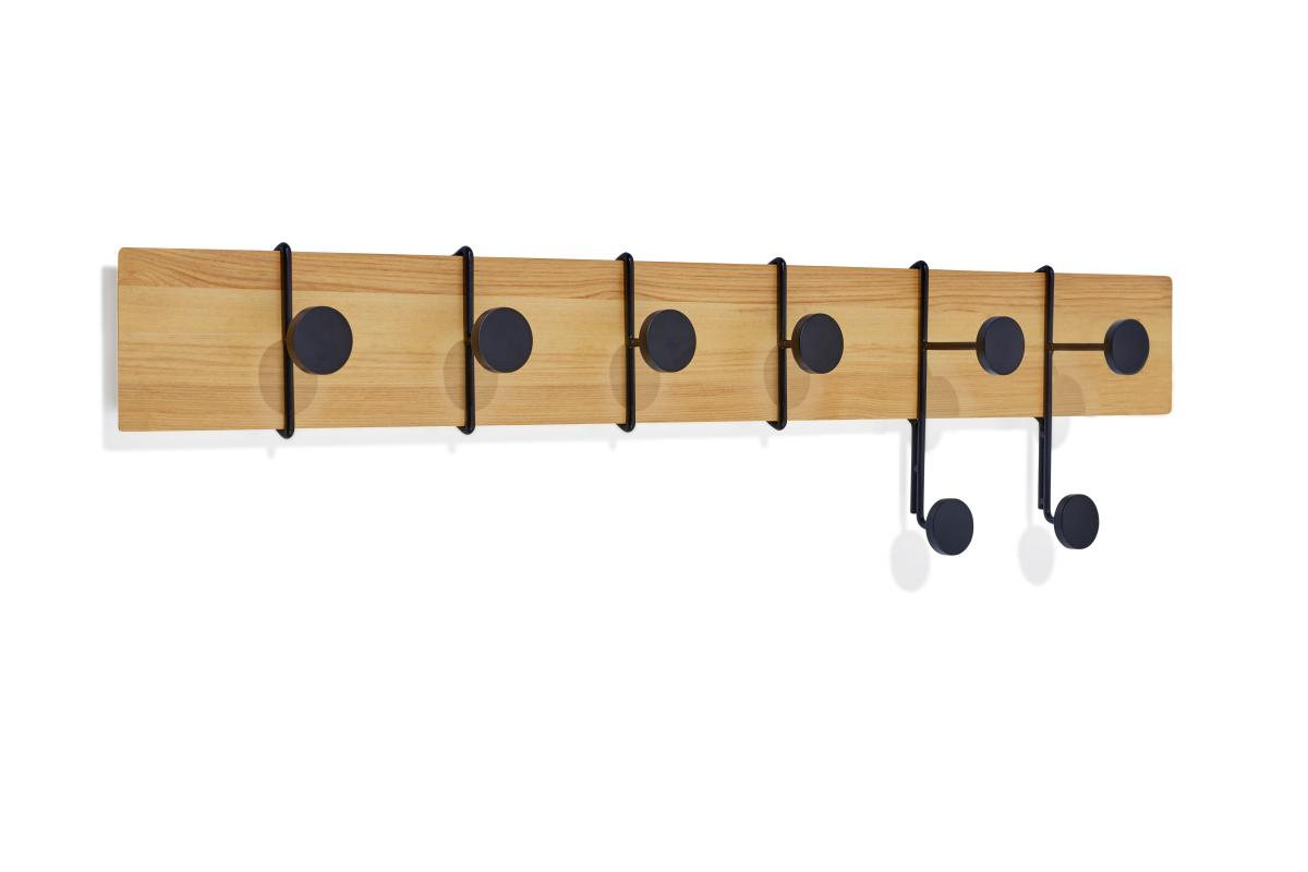 STROKES und DOTS Garderobenleiste 80 cm Esche/schwarz