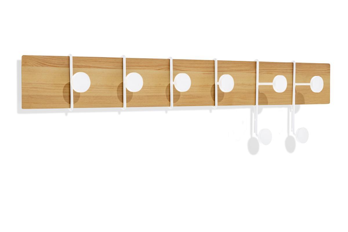 STROKES und DOTS Garderobenleiste 80 cm Esche/weiß