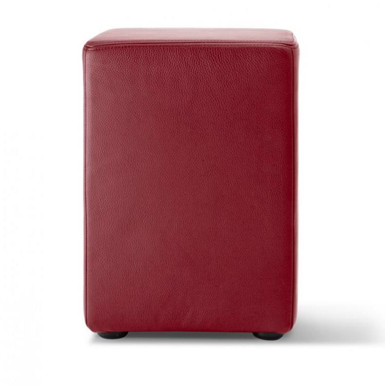 POMP Hocker Leder bordeaux-rot