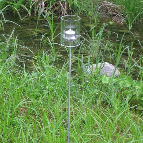 ponton Kombi-Licht mit Edelstahl-Stab 100 cm,Teelicht / Kerzenhalter, Borosilikat-Glas