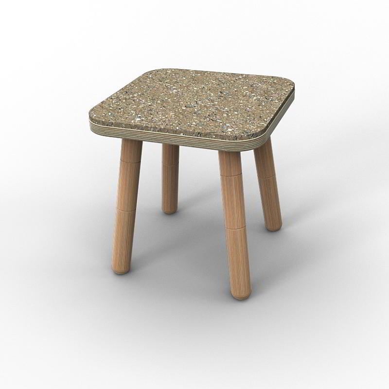 GROWING TABLE Sitzfilz für Hocker, grau meliert