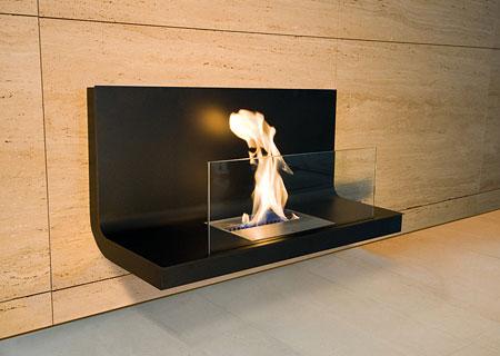 Wall Flame Biokamin Stahl schwarz, Glas klar