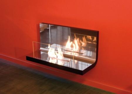 Wall Flame Biokamin schwarz/verchromt hochglanz, Glas klar