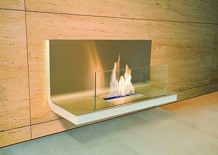 Wall Flame Biokamin weiß/Edelstahl, Glas klar