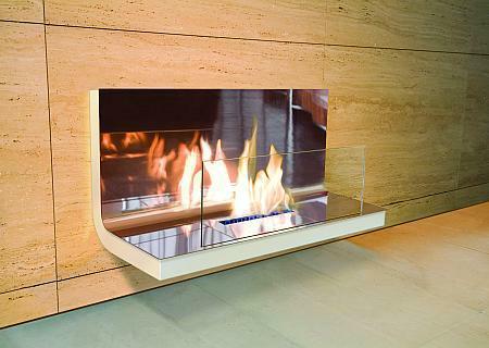 Wall Flame Biokamin weiß/verchromt hochglanz Glas klar