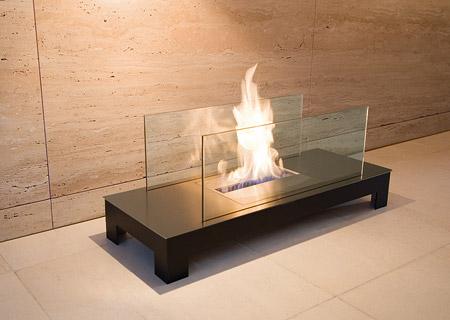 Floor Flame Biokamin schwarz / Edelstahl