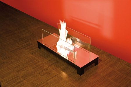 Floor Flame Biokamin schwarz / hochglanzverchromt