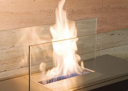 Floor Flame Biokamin Detail mit Edelstahlabdeckung